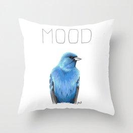 Mood Indigo (Indigo Bunting) Throw Pillow