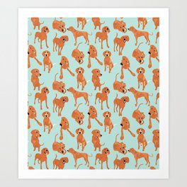 Redbone  Coonhound Pattern Art Print