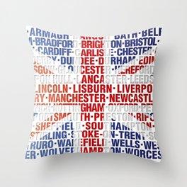 UK city names flag Throw Pillow