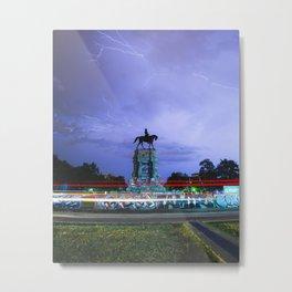 vertical: Lightning Over Marcus David Peters Circle Metal Print