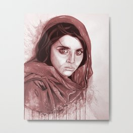 Sharbat Gula black/white Metal Print
