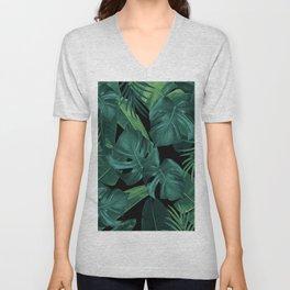Tropical Summer Night Jungle Leaves Dream #1 #tropical #decor #art #society6 Unisex V-Neck