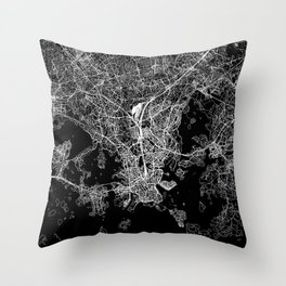 Helsinki Black Map Throw Pillow