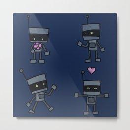 Robot Doodles Metal Print