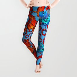 Blue & Orange Butterflies Abstract Pattern Art Leggings