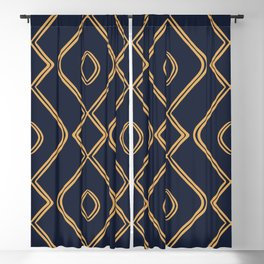 Modern Boho Ogee in Navy & Gold Blackout Curtain