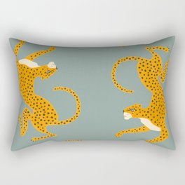 Leopard Race - blue Rectangular Pillow