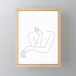 Minimal line drawing of woman's folded arms - Anna Framed Mini Art Print