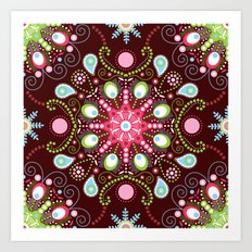 Pointillism mandala | Brown, red and green Art Print
