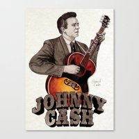 johnny cash Canvas Prints featuring Johnny Cash by Daniel Cash