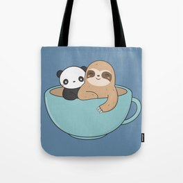 Kawaii Cute Panda and Sloth Tote Bag