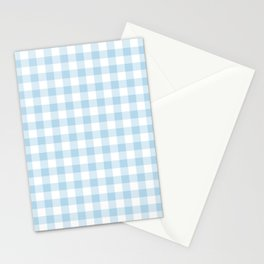 Gingham Light Blue - White Stationery Cards
