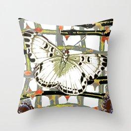 #2 PURPLE-WHITE MOTHS  ON BLACKTHORN LATTICE BRANCHES ART Throw Pillow