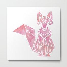 Geometric Fox in Watercolor Metal Print