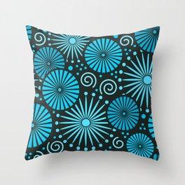Blue retro abstract Throw Pillow