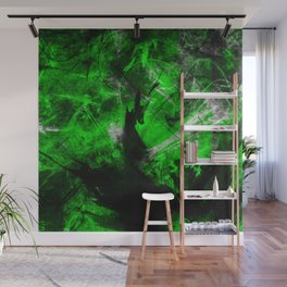 Emerald Blast - Abstract Black And Green Painting Wall Mural