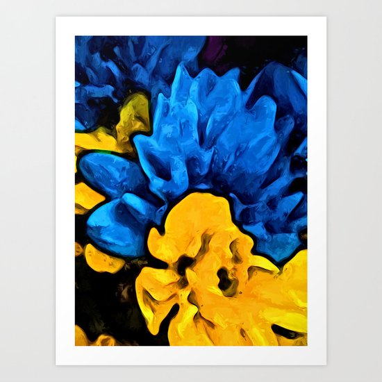 Yellow Flower and Blue Flowers Art Print