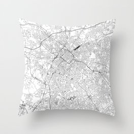 Charlotte White Map Throw Pillow