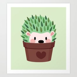 Hedgehogs disguised as cactuses Art Print