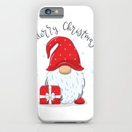 Cute Cheerful Gnome With Phrase Merry Christmas iPhone Case