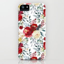 Elegant burgundy pink teal gray watercolor holly leaves floral iPhone Case