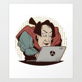 Samurai in programming Art Print
