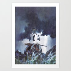 The Unknown Rider Hard Rain Art Print