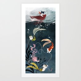 """Catfish"" - cute fantasy cat mermaids illustration Art Print"