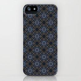 Art Deco Pattern Apricot Blue iPhone Case