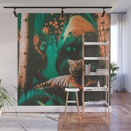 Surreal Tiger Chilling Wall Mural