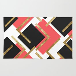 Chic Coral Pink Black and Gold Square Geometric Rug
