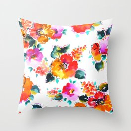 Hand-Painted Watercolor Throw Pillow