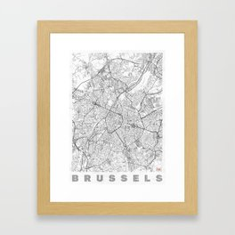 Brussels Map Line Framed Art Print