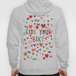 multicolor hearts red blue pink green love ride my bike bicycle motivation art decor designer work Hoody
