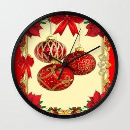 RED CHRISTMAS POINSETTIAS FLOWER CHRISTMAS ORNAMENTS Wall Clock
