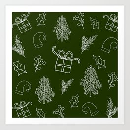 green christmas pattern Art Print