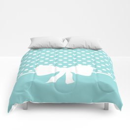 Dots dip-dye pattern with cute bow in light blue Comforters