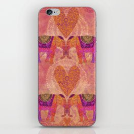 Elephants In Love With Heart iPhone Skin