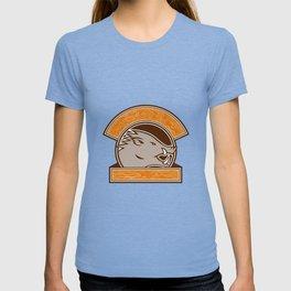 Wood Boar Head Circle Retro T-shirt