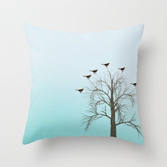 Tree with Birds Throw Pillow