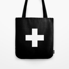 Swiss Cross Black and White Scandinavian Design for minimalism home room wall decor art apartment Tote Bag
