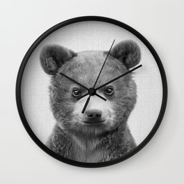 Baby Bear - Black & White Wall Clock
