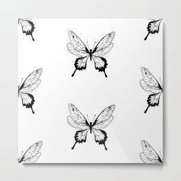 Butterfly Black Pattern Metal Print