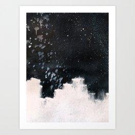 Bold paint strokes over black background, paint splatter Art Print