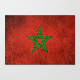 Old and Worn Distressed Vintage Flag of Morocco Canvas Print