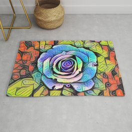 The Rose - Abstract, colourful painting Rug