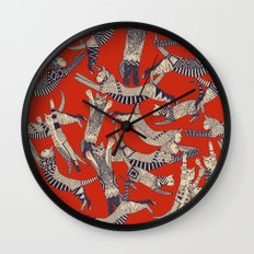 cat party retro Wall Clock
