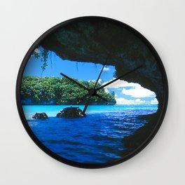 Exotic Palau Islands: View From Treacherous Ocean Cave Wall Clock