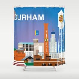 Durham, North Carolina - Skyline Illustration by Loose Petals Shower Curtain