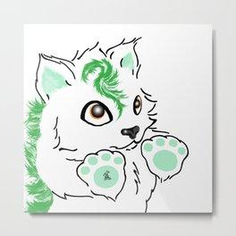 Snowfox - green Metal Print